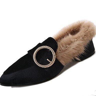 US7.5   EU38   UK5.5   CN38 Beige Wuyulunbi@ Chaussures femmes Talon Chaussures Hiver Pu pour boucle Vert Noir Beige Décontracté
