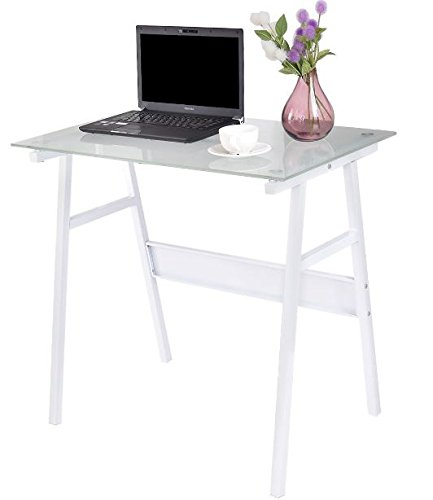 K&A Company Study Desk Computer Table Office Home Furniture Student Kids Workstation Laptop Writing Wood White Glass Top Metal Leg by K&A Company