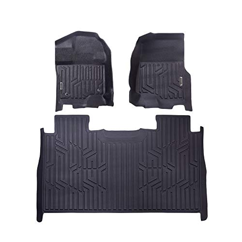 POWERWORKS F150 Floor Mats Liners SuperCrew Cab Compatible for 2015-2019 Ford f150- Unique Black TPE All-Weather Guard, Includes 1st & 2nd Front Row and Rear Floor Liner Full Set (2nd Row Floor Liner)