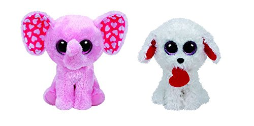 Ty Beanie Boo 2017 Valentine's Day Set of Two Beanie Boos- Honey Bun Poodle And Sugar the Pink Elephant 6