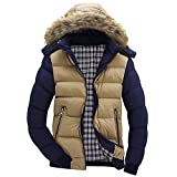 kemilove Men Blouse Men's Hooded Coat Autumn and Winter Thick Coat