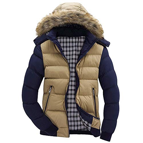 - Tsmile Men Coat Plus Size Autumn Winter Men Boys Casual Warm Hooded Zipper Plush Collar Jacket Outwear