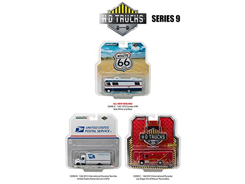 Price comparison product image Heavy Duty Trucks Series 9,  Set of 3 Trucks 1 / 64 Diecast Model 1 / 64 by Greenlight 33090 A, B, C