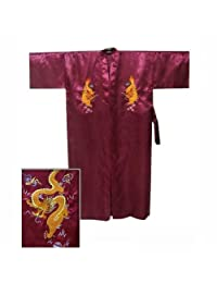 Chinese Men's Silk Satin Embroidery Kimono Robe Bath Gown with Dragon (Burgundy, M)