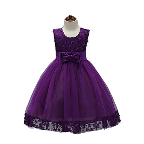 FKKFYY Big Girl Dress Holiday Graduation Christmas Halloween Special Occasion Tops Girl Dresses Size 10 for Wedding Knee Length 12 Years Old Purple Sleeveless Girls Bridesmaid Dress (Violet 140) (Tall Bridesmaid Dress)