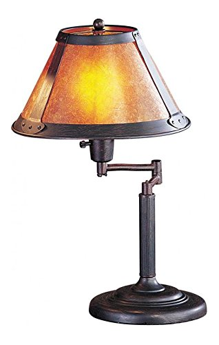Rust 60 Watt 18in. Craftsman / Mission Metal Swingarm Table Lamp with On/Off Switch and Round Mica ()