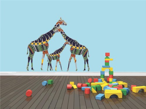 Decal – Vinyl Wall Sticker : Colorful Giraffe Animal Zoo Circus African Wild Safari Animal Boy Girl Children Kids Playroom Daycare Classroom Living Room Bedroom Kitchen Home Decor Picture Art Image Peel & Stick Graphic Mural Design Decoration Size : 20 In
