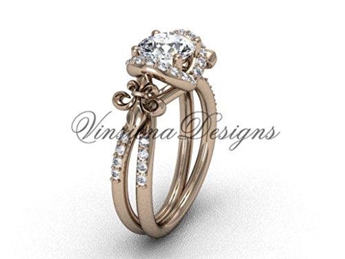 14kt rose gold diamond Fleur de Lis, halo, eternity engagement ring VD208140