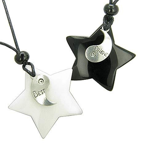 Lucky Best Friends Ying Yang White Snowflake Quartz Black Agate Star Friendship Pendant Necklaces