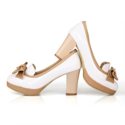 Charme Pied Mode Arcs Femmes Chunky Talons Pompes Chaussures Blanc
