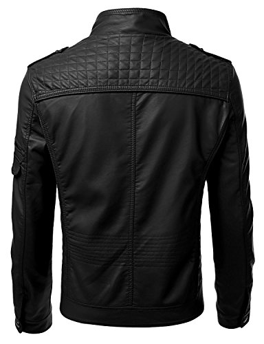 IDARBI Mens Long Sleeve Premium Stand Collar Zip Up Faux Leather Jacket - stylishcombatboots.com