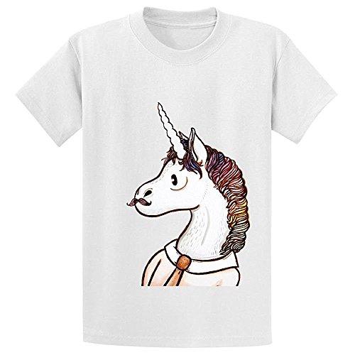 Snowl Doctor Unicorn Kid's Crew Neck Short Sleeve Shirts White (Boba Fett Suit For Sale)