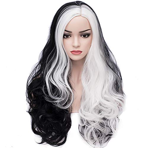BERON Long Curly Women Girls Charming Full Wigs for Cosplay Party or Daily Use with Wig Cap (Black Mixed -