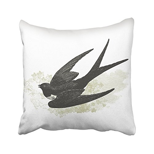 Emvency Throw Pillow Covers Decorative Cases Swallow Vintage Engraved Histoire Naturelle By Buffon and Lacpde Published 20x20 Inch Cover Cushion Pillowcase Square Case Print