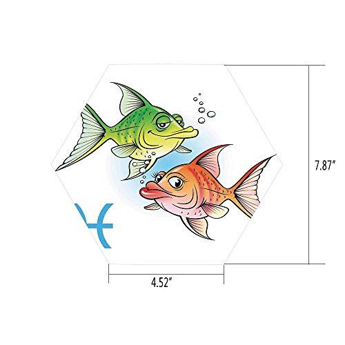 (iPrint Hexagon Wall Sticker,Mural Decal,Astrology,Pisces Symbols with Pretty Love Couple Fish Nemo Birthday Romance Home Decor Decorative,Green Orange,for Home Decor 4.52x7.87 10 Pcs/Set)