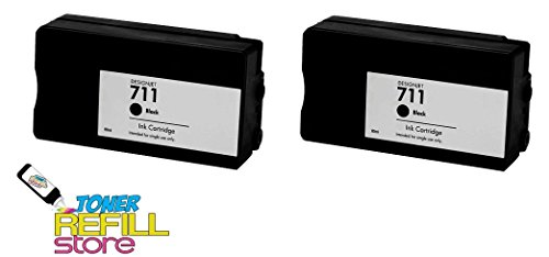 Designjet Models (Toner Refill Store™ 2 Pack Compatible Replacement HP 711 Black CZ133A Ink Cartridges for use in the Hewlett Packard DesignJet T120, and HP DesignJet 520 printer models by NorthLand Wholesale)