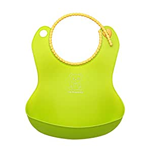 Soft Silicone Feeding Bib Waterproof Adjustable Snaps Baby Bibs For Infants And Toddlers With Food Catcher Pocket