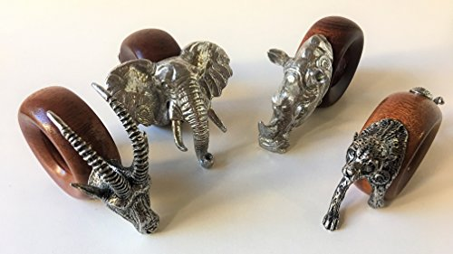 Jungle Safari Figural Napkin Ring Set 4, Design B, South Africa Signed Pewter & Wood Elephant, Cheetah, Rhino, Sable