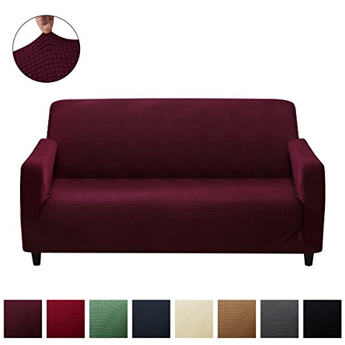 Stretch Sofa Covers Non Slip Couch Cover Anti-wrinkle Slipcovers for Loveseat, 1 Piece Polyester Spandex Jacquard Fabric Furniture Protector(Loveseat,Purple) - Polyester Furniture Cover