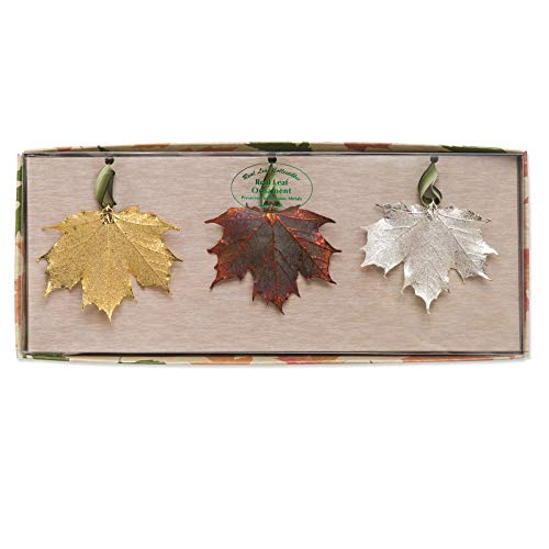 (Venture Collections 24k Gold Dipped, Silver Dipped, Iridescent Copper Dipped Maple Leaves Set in Gift Box)