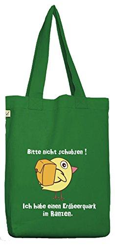 ShirtStreet Bio Baumwoll Jutebeutel Stoffbeutel Küken - Bitte nicht schubsen Moss Green