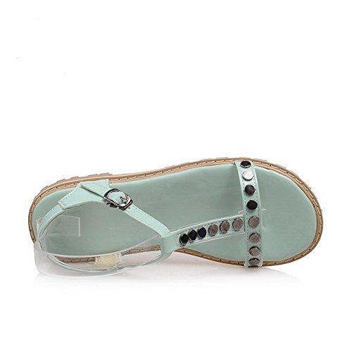 Odomolor Mujeres Charol Hebilla Puntera Abierta Mini Tacón Sólido Sandalias de vestir Azul
