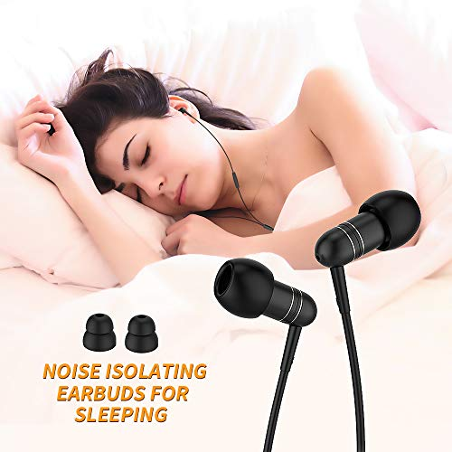 in-Ear Earbuds for Sleeping, Mijiaer Noise Isolating Headphones Sleep Earbuds with Soft Earplugs for ASMR, Insomnia, Snoring, Air Travel, Meditation, Relaxation (Best Bluetooth Earbuds For Sleeping)