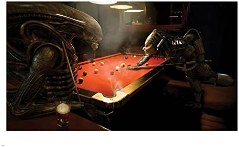 ALIEN vs PREDATOR playing pool game POSTER 24X36 FUNNY humorous ...