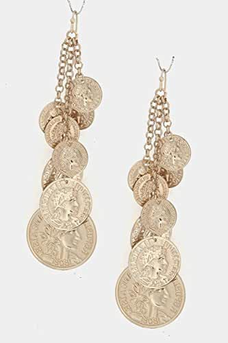 TRENDY FASHION JEWELRY LAYERED COIN CLUSTER EARRINGS BY FASHION DESTINATION