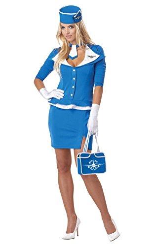 POPLife 60s Retro Stewardess Adult Costume Sexy Airplane Flight Attendant (60s Flight Attendant Costume)