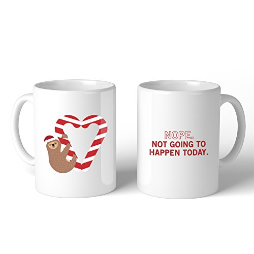365 Printing Sloth Heart Candy Cane Mug Christmas Gift Idea Cute Ceramic Mugs