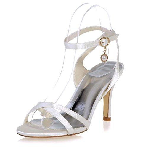 5cm Summer per Elobaby Strap Satin per T Scarpe Size 39 da Platform 42 8 Stiletto Sposa Donna Buckle Ivory 35 Toe Heel wq7CUvw