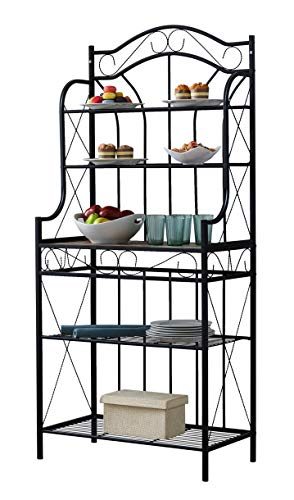 Kings Brand Furniture – Black Metal/Faux Stone 5-Tier Kitchen Storage Bakers Rack by Kings Brand Furniture (Image #4)