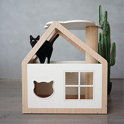 BTTNW PE Haustier-Haus Hölzerne Katze Klettergerüst Haustier-Haus-Hundehütte Katze-Haus Hundehütte Innengebrauch…