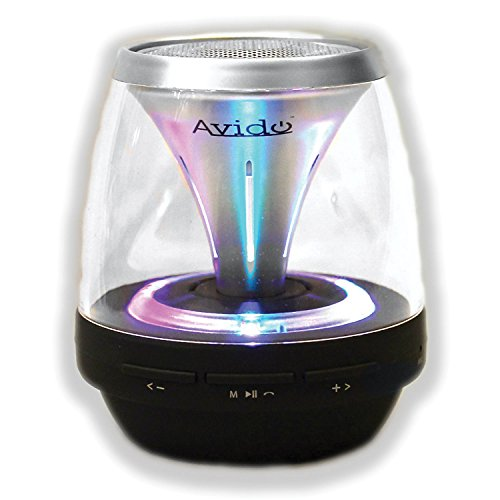 Avido Proton Ultra-Portable *Multi-Color LED Light Show* Wireless Bluetooth Speaker - HD Sound, Speakerphone, FM Radio, Auxiliary Input, Micro SD Card, Voice Prompts, Rechargeable - (Black / Silver)
