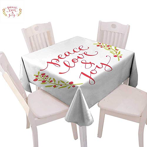 Quote Dinner Picnic Table Cloth Peace Love and Joy Calligraphic Xmas Text with Winter Berries Wreath Waterproof Table Cover for Kitchen 50