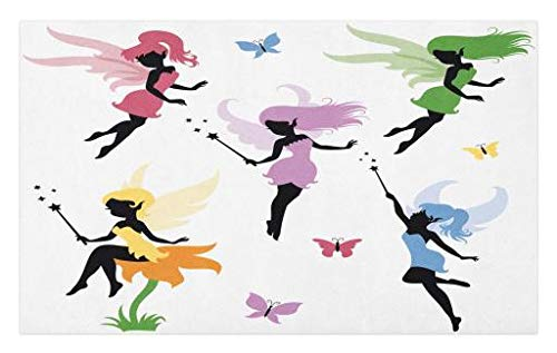 ormat, Cute Pixie Spirit Elf Fairies Flying with Butterflies Girls Princess Flowers Design, Decorative Polyester Floor Mat with Non-Skid Backing, 30 W X 18 L Inches, Multicolor ()