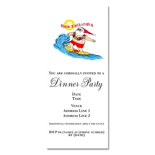Hawaiian Shirt Invitations - CafePress - Surfing Santa Hawaiian Christmas - Invitations Matte