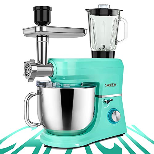 SanLidA 6-IN-1 Stand Mixer, 9.5 Qt. Multifunctional Electric Kitchen Mixer with 9 Accessories for Most Home Cooks, SM-1507BM, Mojito Green
