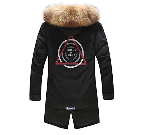 Caldo Cappotto Con Piumino Uomo Casual Black Da Lungo Invernale Cappuccio Antivento Capospalla Kitrack W8T0Sqq