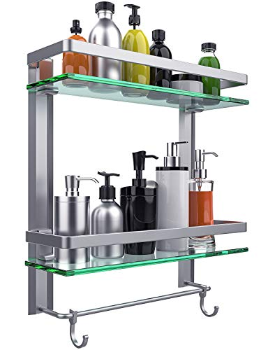 Vdomus Tempered Glass Bathroom Shelf, 2 Tier Shelf with Towel Bar Wall Mounted Shower Storage15.2 by 5 inches, Brushed Silver Finish (2 Tier Glass Shelf) (Shelves Two)