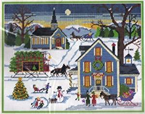 Dimensions New England Christmas Embroidery Needlepoint Stitch Kit by Charles Wysocki #9045 Retired/Vintage 1984 / Collectable/Discontinued by Manufacturer/Made in USA Dimensions Inc.