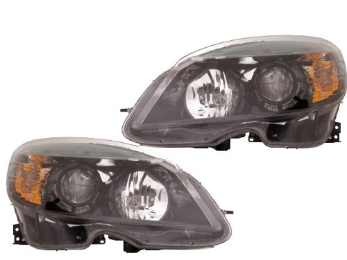 DEPO MERCEDES BENZ C CLASS C300 C350 08-11 Euro Black HALOGEN HEADLIGHT LAMP SET Depo Black Euro Headlights