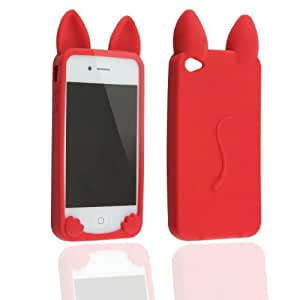 Case for Apple iphone 4 4G 4S New Cute Animal Koko Cat Ear Design Soft Silicone Back Cover-Red(Gift Cartoon Sticker 2 PCS)