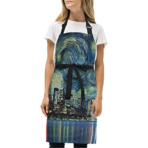 HJudge Womens Aprons City Star Night Kitchen Bib Aprons with Pockets Adjustable Buckle on Neck]()