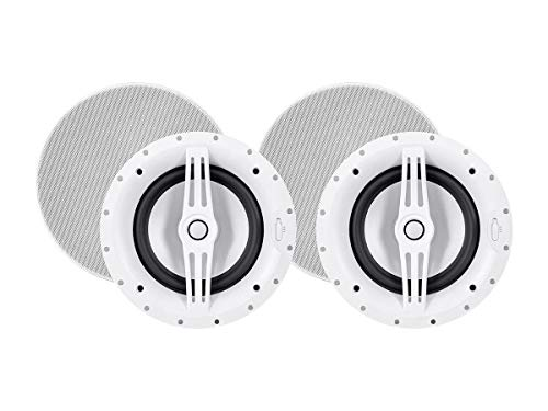 (Monoprice 2-Way Architectural Aluminum Ceiling Speakers - 8 Inch with Micro Ceramic Composite Tweeter (Pair) - Sycamore Series)