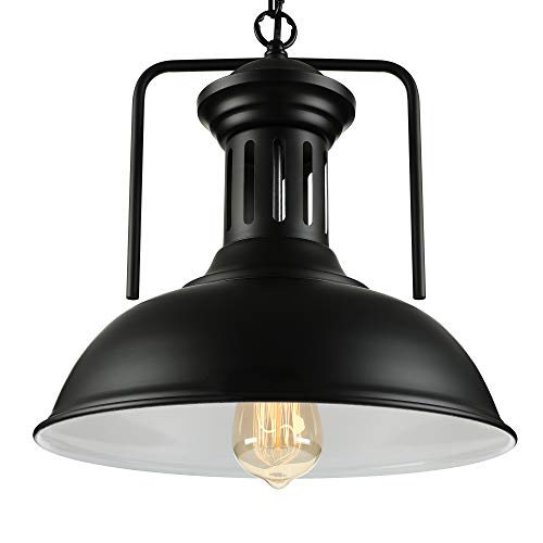 NIUYAO Vintage Metal Industrial Chandelier Retro Pendant Light 13'' Wide Ceiling Lighting Chandelier 1-Light with Chain