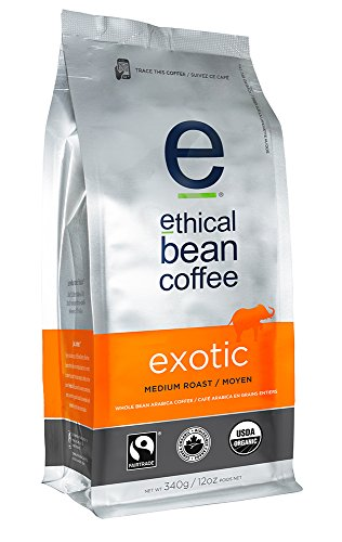 Ethical Bean Coffee Exotic, Medium Roast, Whole Bean, 12-Ounce Bag