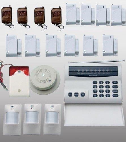 Premium-Sicherheits-Anlage / Mehr-Zonen / Vollausstattung / Funk-Übertragung / Inklusive 4 zusätzliche Kontakt-Sensoren für Fenster o. Türen (Also gesamt 10 Stück)