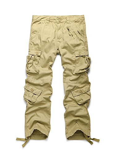 OCHENTA Men's Cotton Military Cargo Pants, 8 Pockets Casual Work Combat Trousers #3357 Khaki 36 ()